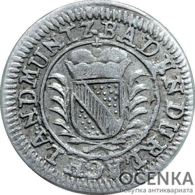 Серебряная монета 1 Крейцер (1 Kreuzer) Германия - 3