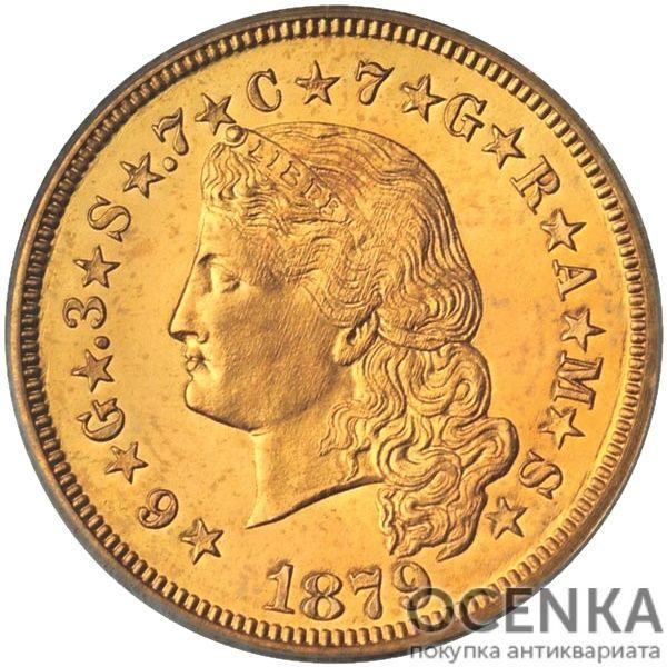 Золотая монета 4 Dollars (4 доллара) США - 1