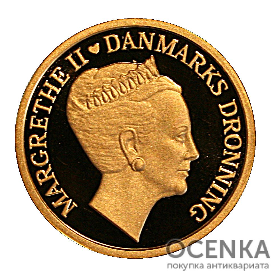 Золотая монета 1000 Крон (1000 Kroner) Дания - 3
