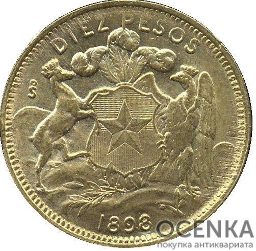 Золотая монета 10 Песо (10 Pesos) Чили - 4