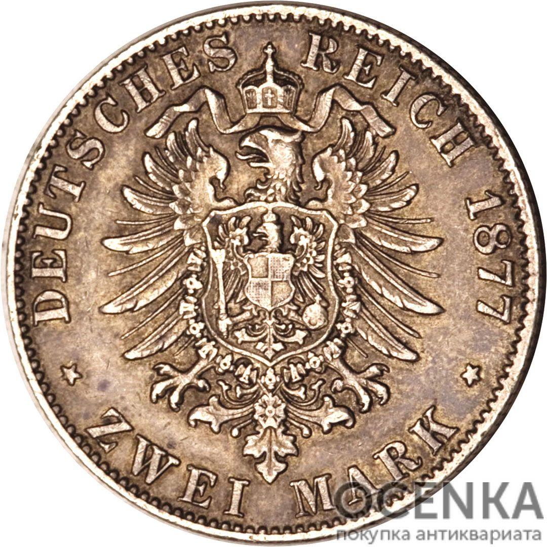 Серебряная монета 2 Марки (2 Mark) Германия