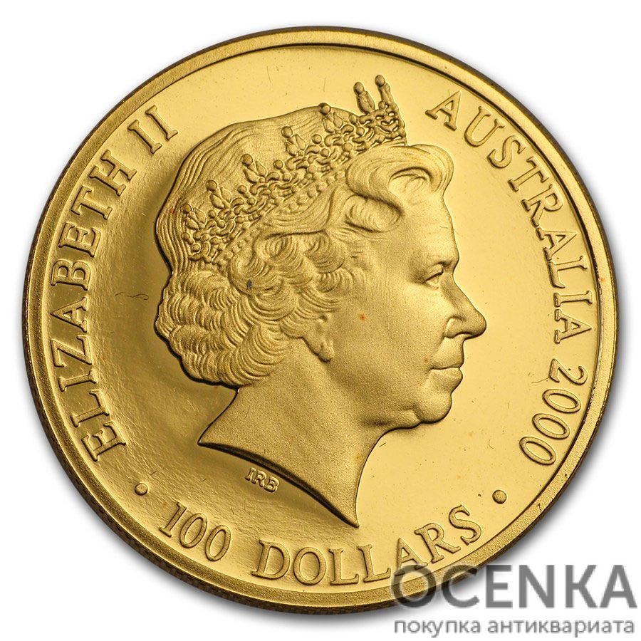 Золотая монета 100 долларов 2000 год. Австралия. Олимпийский факел - 1