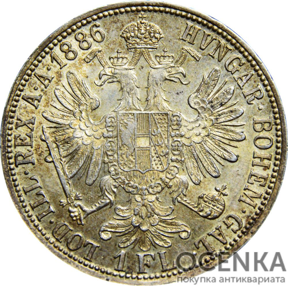 Серебряная монета 1 Флорин (1 Florin) Австро-Венгрия - 2