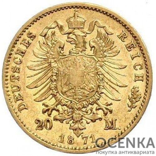 Золотая монета 20 Марок Германия