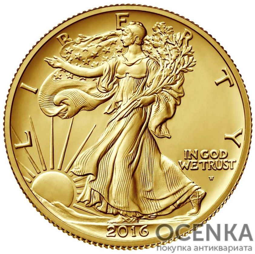 Золотая монета Half dollar (1/2 доллара) США - 3