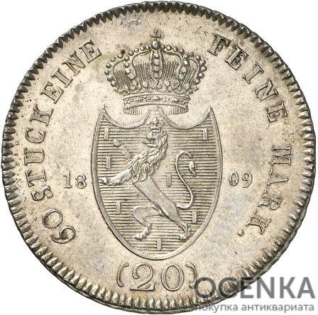 Серебряная монета 20 Крейцеров (20 Kreuzer) Германия - 6