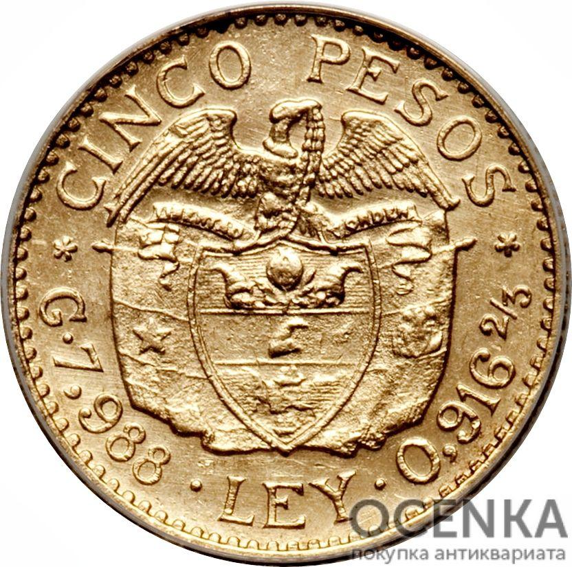 Золотая монета 5 Песо (5 Pesos) Колумбия - 2