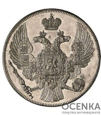 Платиновая монета 12 рублей 1843 года - 1