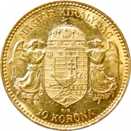 Золотая монета 10 крон 1909 года. Австро-Венгрия. Король Франц Иосиф I - 1
