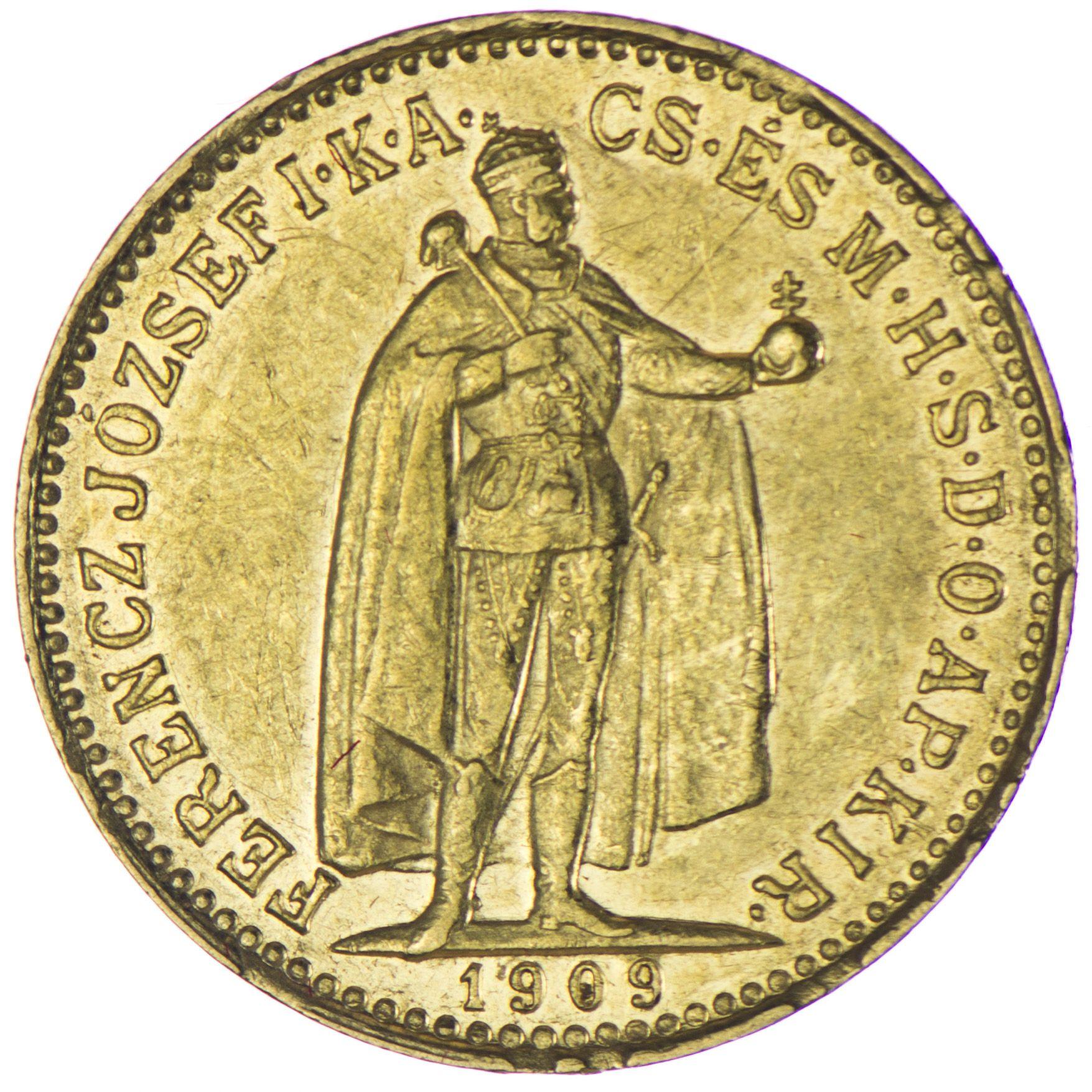Золотая монета 10 крон 1909 года. Австро-Венгрия. Король Франц Иосиф I