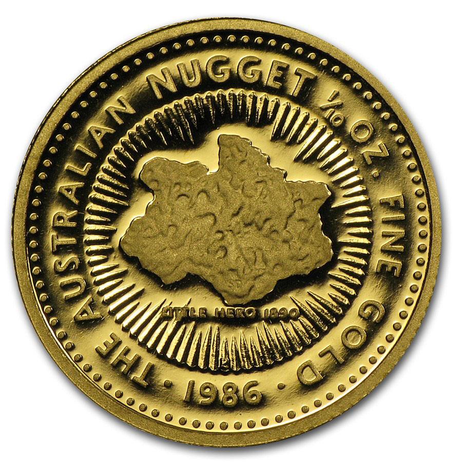 Золотая монета 15 долларов 1986 год. Австралия. Самородки