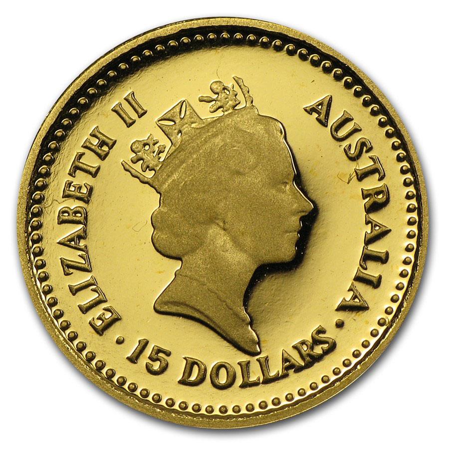 Золотая монета 15 долларов 1986 год. Австралия. Самородки - 1