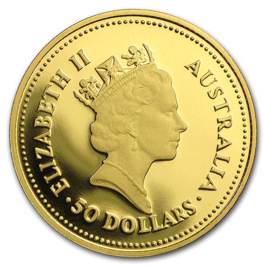 Золотая монета 50 долларов 1986 год. Австралия. Самородки - 1