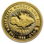 Золотая монета 25 долларов 1986 год. Австралия. Самородки