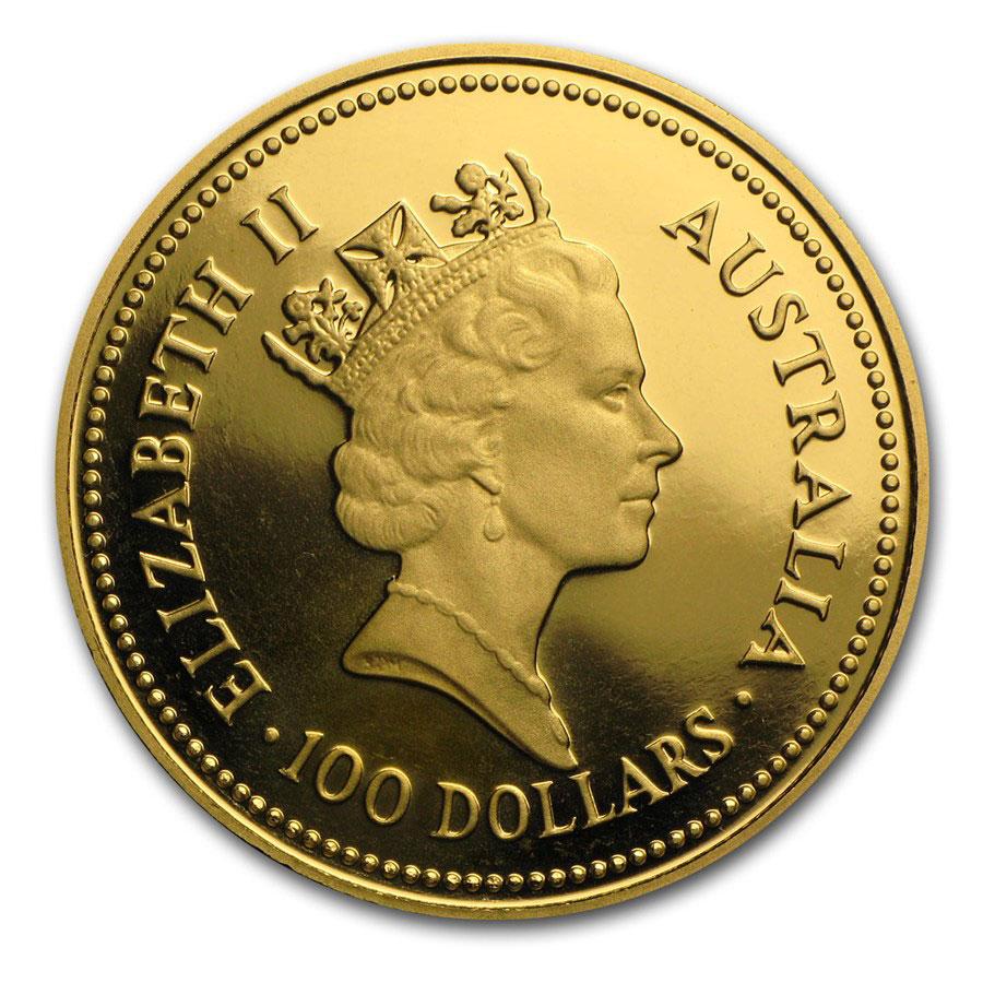 Золотая монета 100 долларов 1986 год. Австралия. Самородки - 1