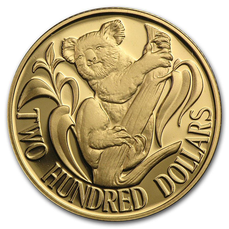 Золотая монета 200 долларов 1986 год. Австралия. Коала