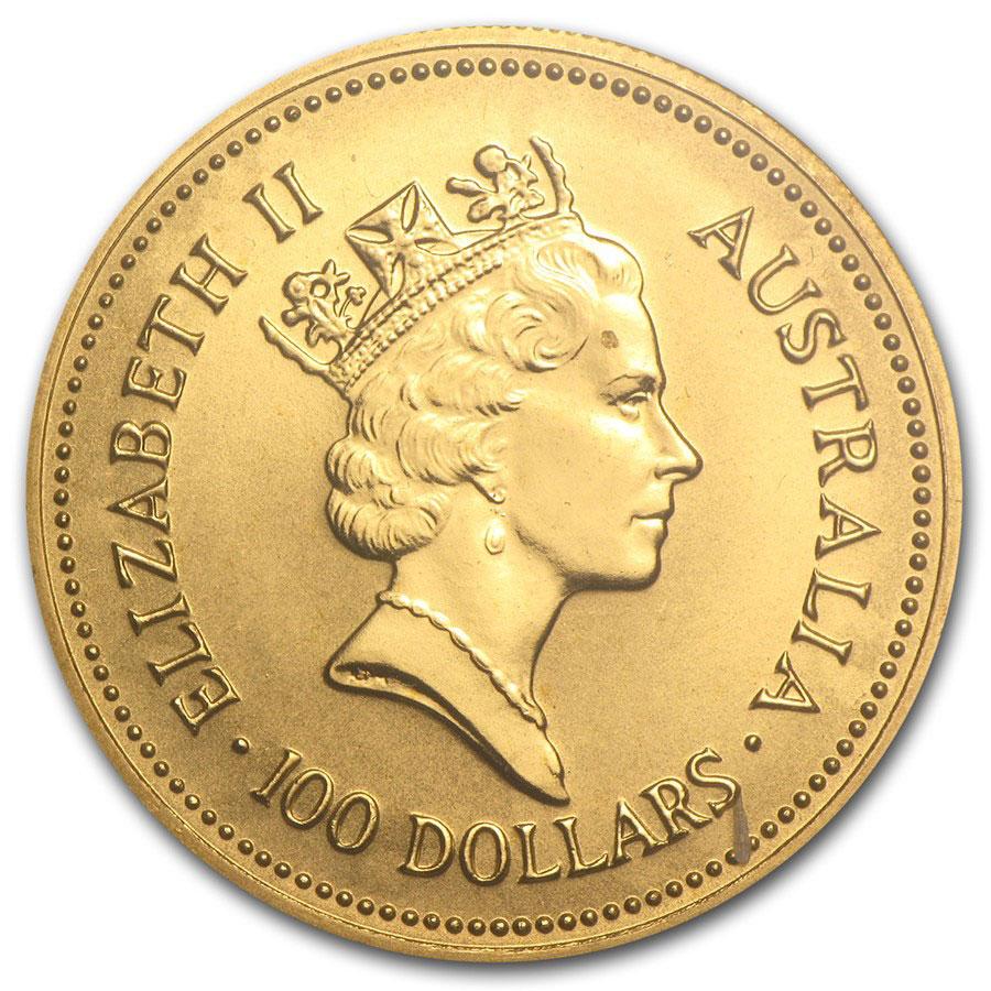 Золотая монета 100 долларов 1987 год. Австралия. Самородки - 1