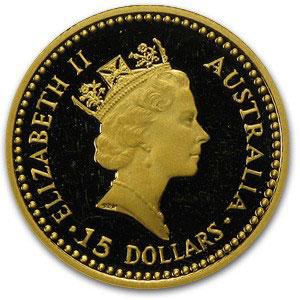 Золотая монета 15 долларов 1989 год. Австралия. Красный кенгуру - 1