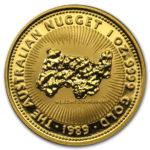 Золотая монета 100 долларов 1989 год. Австралия. Самородки