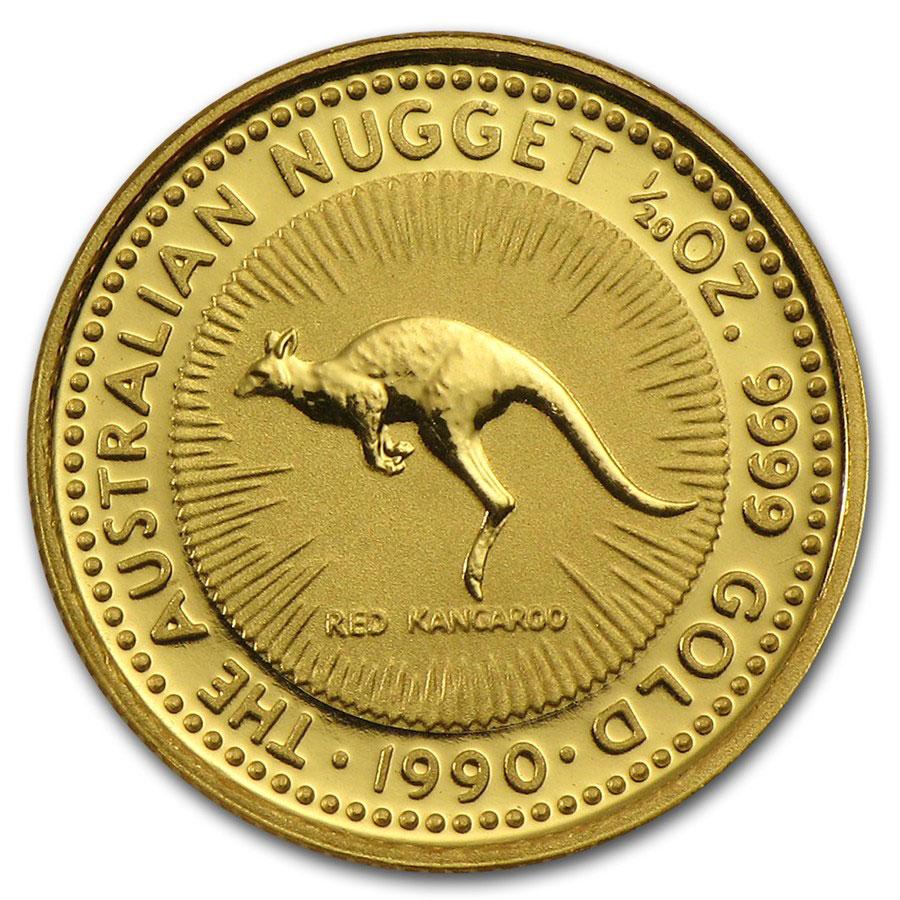 Золотая монета 5 долларов 1990 год. Австралия. Красный кенгуру