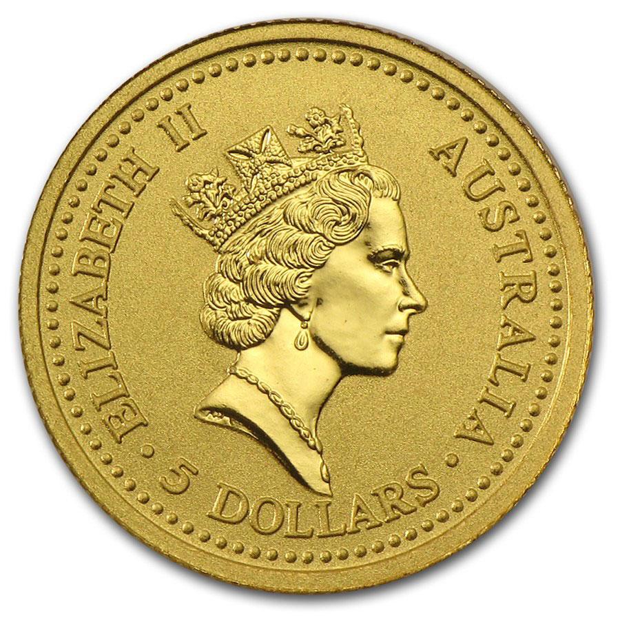 Золотая монета 5 долларов 1990 год. Австралия. Красный кенгуру - 1