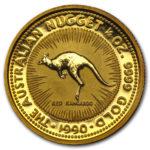 Золотая монета 25 долларов 1990 год. Австралия. Красный кенгуру
