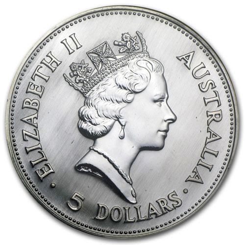 Серебряная монета 5 долларов 1990 год. Австралия. Кукабарра - 1