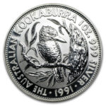 Серебряная монета 5 долларов 1991 год. Австралия. Кукабарра