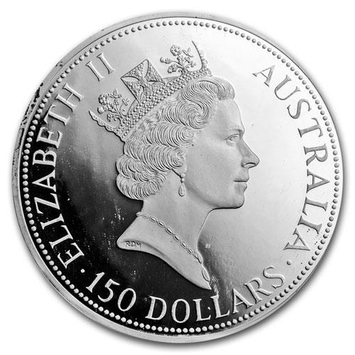 Серебряная монета 150 долларов 1991 год. Австралия. Кукабарра - 1
