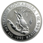 Серебряная монета 1 доллар 1992 год. Австралия. Кукабарра