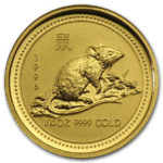 Золотая монета 15 долларов 1996 год. Австралия. Лунар. Год Крысы