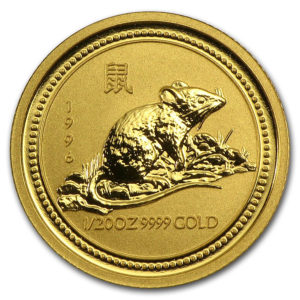 Золотая монета 5 долларов 1996 год. Австралия. Лунар. Год Крысы