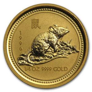 Золотая монета 25 долларов 1996 год. Австралия. Лунар. Год Крысы