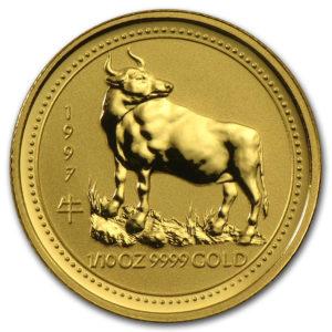 Золотая монета 15 долларов 1997 год. Австралия. Лунар. Год Быка