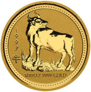 Золотая монета 5 долларов 1997 год. Австралия. Лунар. Год Быка