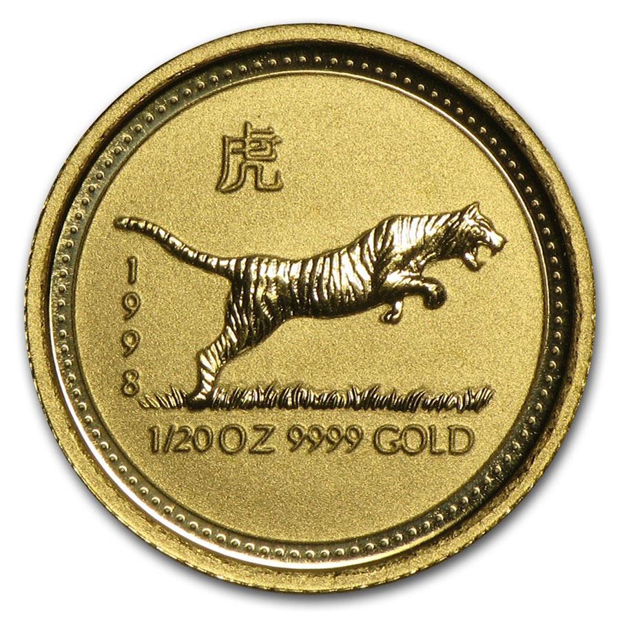 Золотая монета 5 долларов 1998 год. Австралия. Лунар. Год Тигра