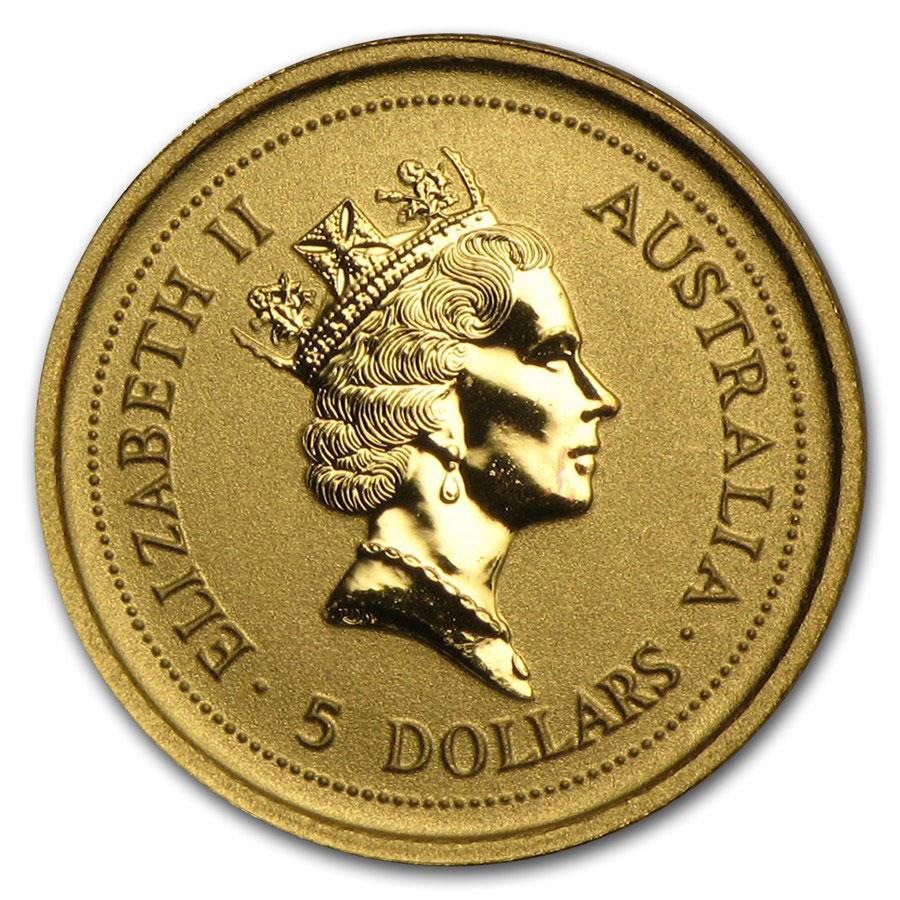 Золотая монета 5 долларов 1998 год. Австралия. Лунар. Год Тигра - 1