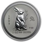 Серебряная монета 1 доллар 1999 год. Австралия. Лунар. Год Зайца