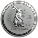 Серебряная монета 2 доллара 1999 год. Австралия. Лунар. Год Зайца