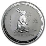 Серебряная монета 30 долларов 1999 год. Австралия. Лунар. Год Зайца