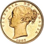 Золотая монета 1 фунт 1871-1887 годов. Австралия. Королева Виктория