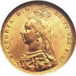 Золотая монета 1 фунт 1887-1893 годов. Австралия. Королева Виктория