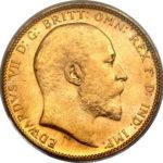 Золотая монета 1 фунт 1902-1910 годов. Австралия. Король Эдуард VII