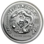Серебряная монета 1 доллар 2000 год. Австралия. Лунар. Год Дракона