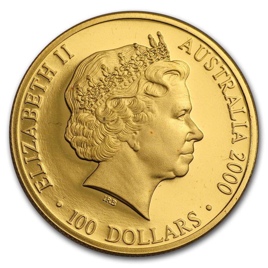 Золотая монета 100 долларов 2000 год. Австралия. Презентация золотой медали - 1