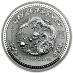 Серебряная монета 2 доллара 2000 год. Австралия. Лунар. Год Дракона