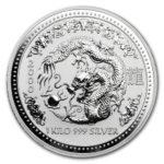 Серебряная монета 30 долларов 2000 год. Австралия. Лунар. Год Дракона