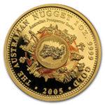 Золотая монета 100 долларов 2005 год. Австралия. Самородки