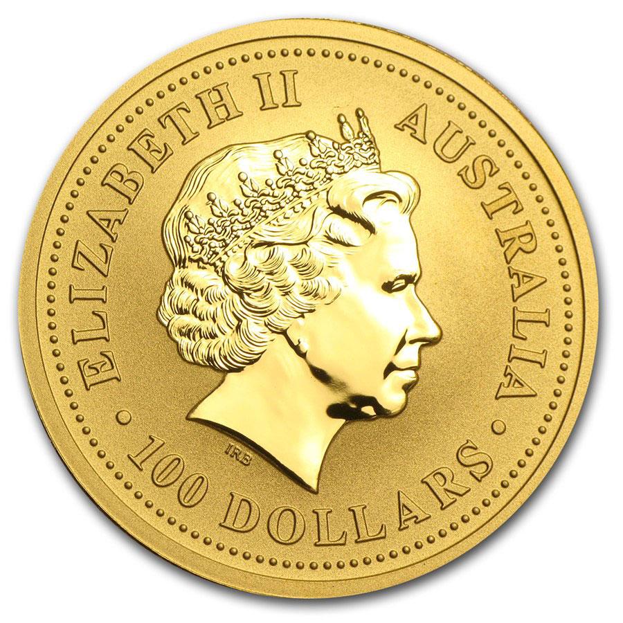 Золотая монета 100 долларов 1989-2014 год. Австралия. Красный кенгуру - 1