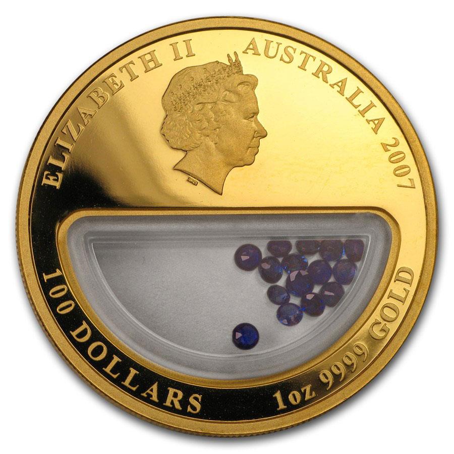 Золотая монета 100 долларов 2007 год. Австралия. Сокровища Австралии. Сапфиры